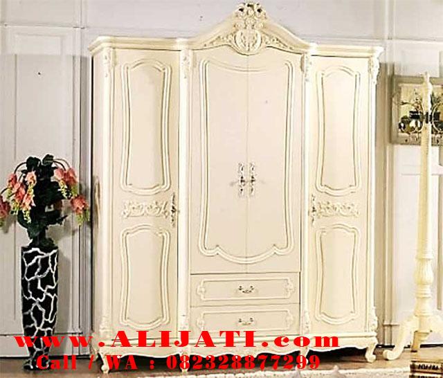 amari pakaian 4 pintu minimalis cat duco putih