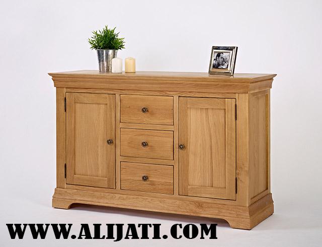 nakas kecil motif klasik kayu jati cat ntural