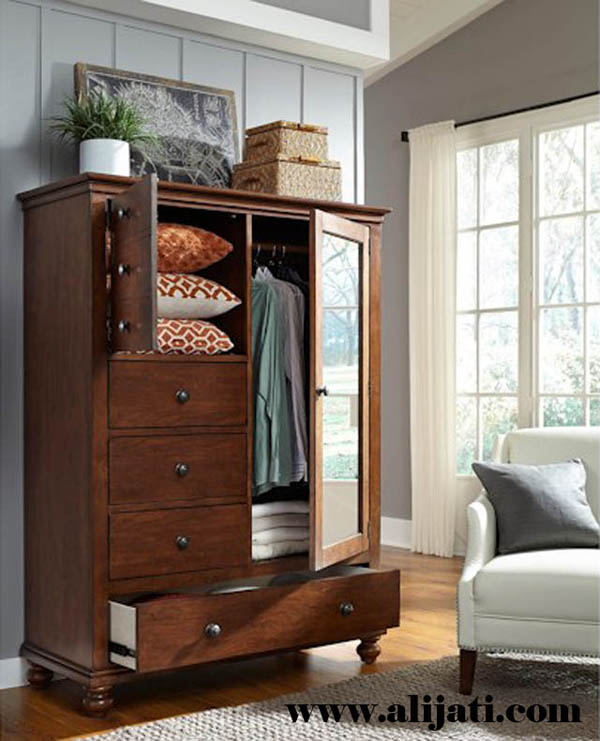almari 2 pintu minimalis kayu jati warna coklat