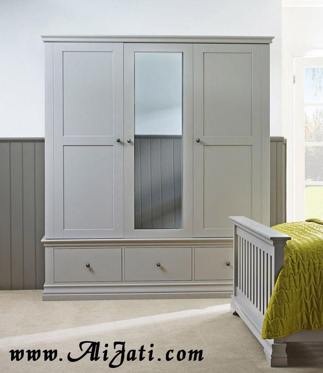 almari 3 pintu warna duco putih minimalis terbaru
