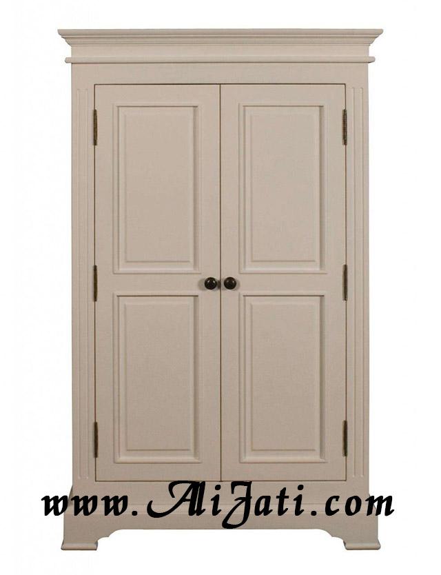 almari baju dua pintu cat duco putih
