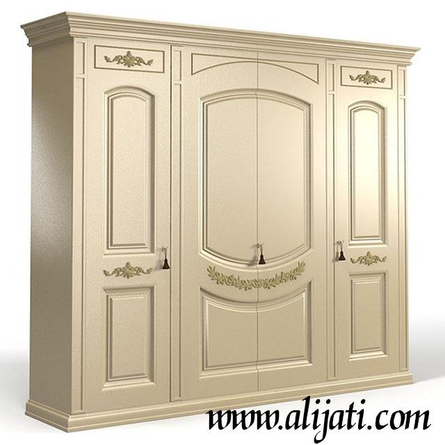 almari baju mewah 4 pintu kayu jati modern klasik