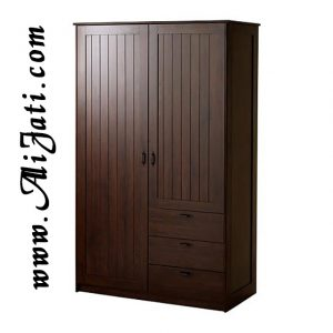 Almari Baju Minimalis Dua Pintu Kayu Jati