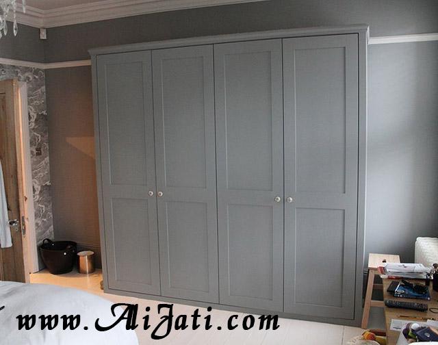 almari besar 4 pintu minimalis terbaru cat putih