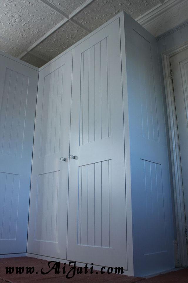 almari besar minimalis 2 pintu cat duco putih