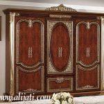 almari mewah 4 pintu minimalis kayu jati asli