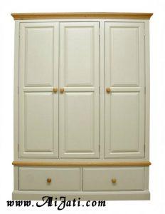 Almari Modern 3 Pintu Minimalis Terbaru Cat Putih