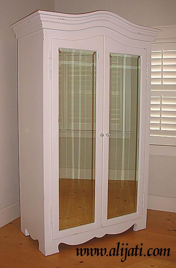 almari pakaian 2 pintu cermin cat duco putih