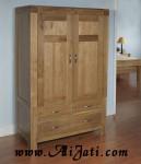 Almari Pakaian 2 Pintu Model Klasik Kayu Jati