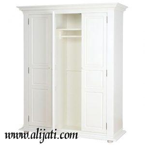 Almari Pakaian 3 Pintu Minimalis Cat Putih Modern