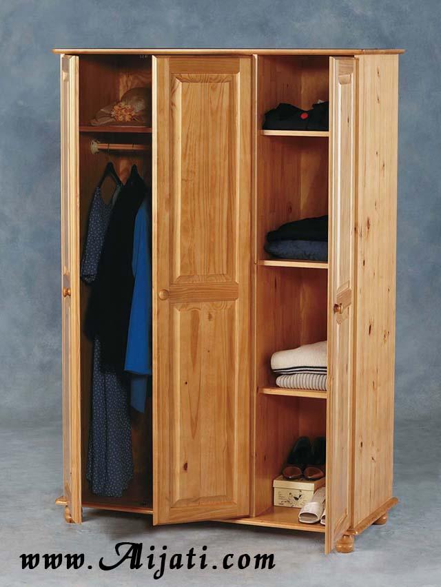 almari pakaian 3 pintu minimalis kayu jati modern