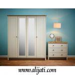 Almari Pakaian Kaca Cermin 4 Pintu Modern Terbaru