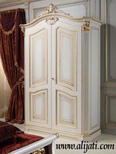 Almari Pakaian Mewah Minimalis 2 Pintu Kayu Jati