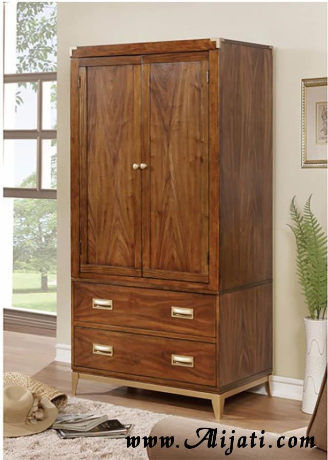 almari pakaian modern dua pintu dua laci