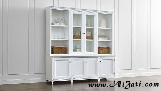 bufet buku model minimalis kayu jati cat putih