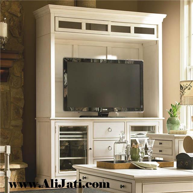 bufet tv kayu jati model klasik terbaru minimalis