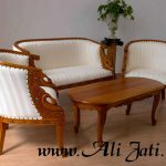 kursi tamu kecil ukir minimalis kayu jati modern