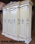 Almari Baju Cat Duco Putih 4 Pintu Mewah