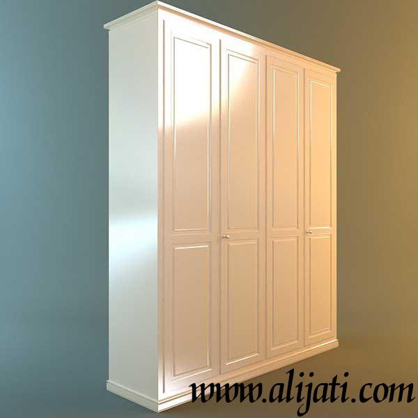 almari cat duco putih minimalis 4 pintu kayu jati