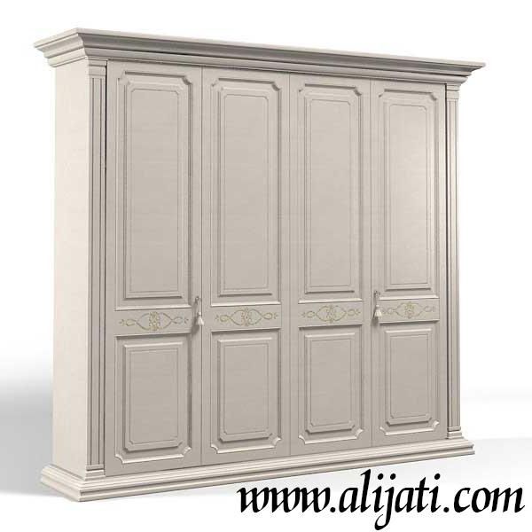 almari pakaian 4 pintu warna duco kayu jati