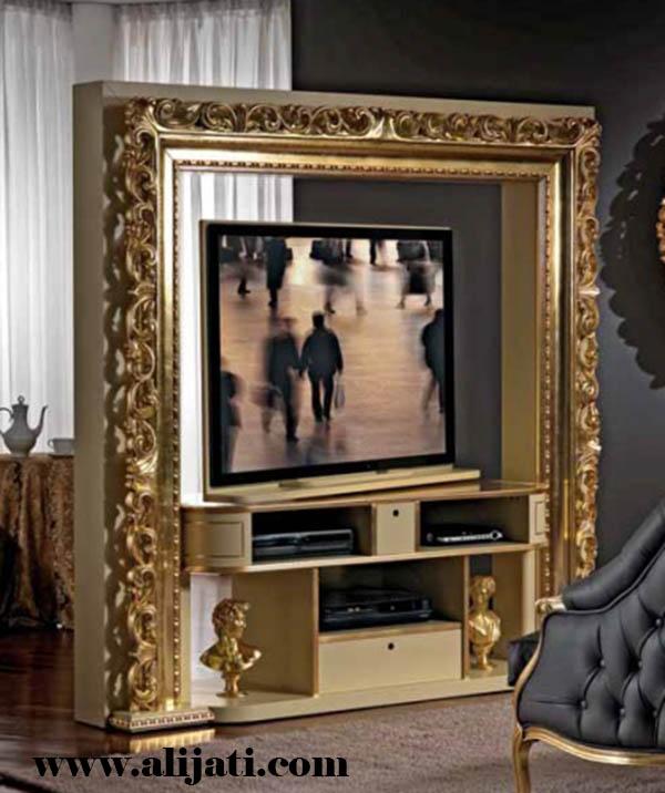 bufet tv model figura kayu jati minimalis