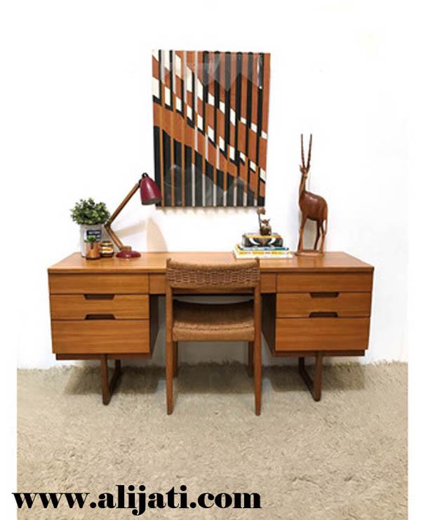 meja belajar simpel kayu jati modern