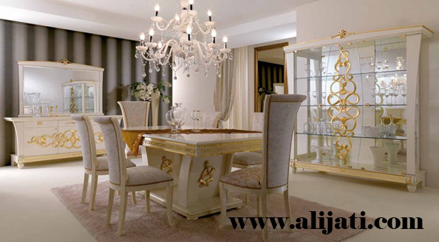 meja makan bermotif 6 kursi kayu jati modern