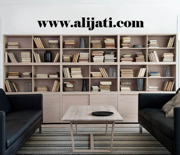 rak buku besar minimalis kayu jati