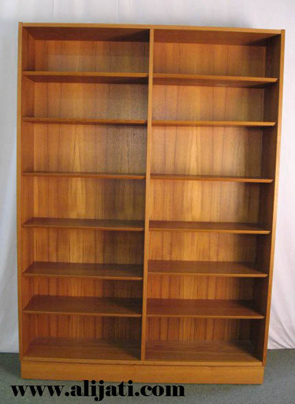 rak buku minimalis kayu jati modern
