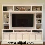 bufet tv cat duco putih kayu jati perhutani