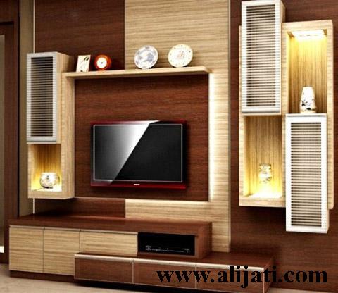 bufet tv desain mewah kayu jati asli perhutani