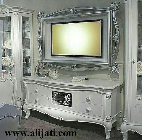 bufet tv mewah cat duco putih model german