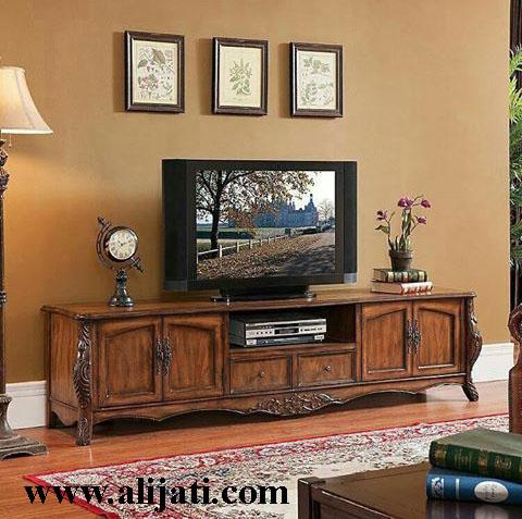 bufet tv sederhana cat natural melamin