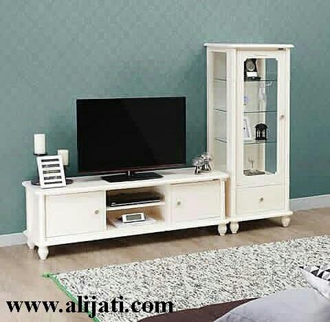 bufet tv simpel kayu jati cat duco putih