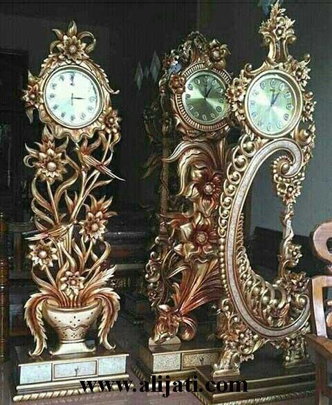 jam hias mewah klasik kayu jati asli