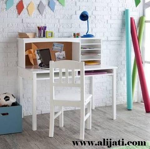 meja belajar anak simple kayu jati asli