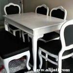 meja makan cat duco putih simple terbaru