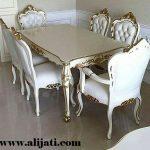 meja makan khas jepara cat duco putih
