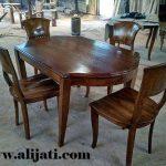 meja makan minimalis sederhana kayu jati clasik