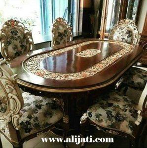 Meja Makan Oval Mewah Kayu Jati
