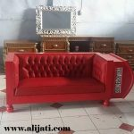 Sofa Jok Oscar Warna Merah Kayu Jati