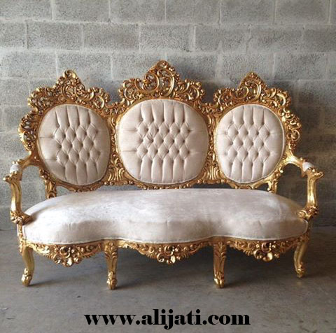 sofa kayu jati jepara cat gold melamin