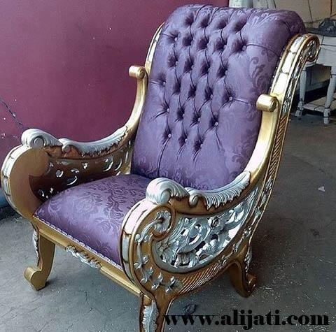 sofa santai cat emas melamin kayu jati