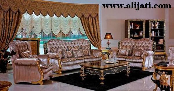 sofa tamu keren kayu jati klasik modern