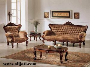Sofa Tamu Klasik Cat Natural Melamin
