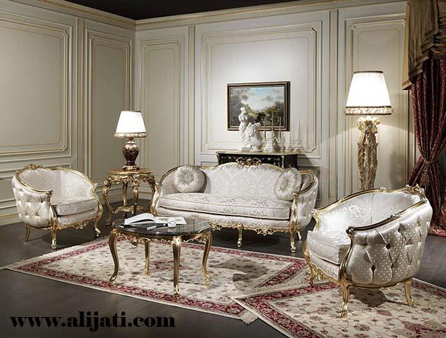 sofa tamu model mewah jok bludru asli
