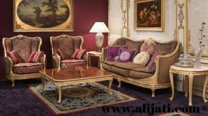 Sofa Tamu Modern Jok Bludru Warna Ungu