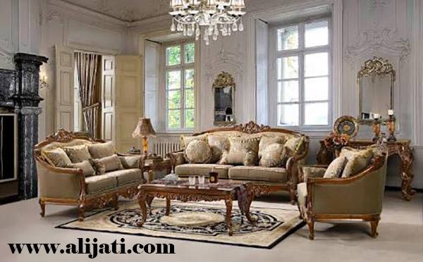 sofa tamu rumah minimalis kayu jati