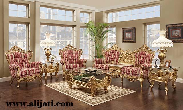 sofa tamu super mewah cat emas kayu jati