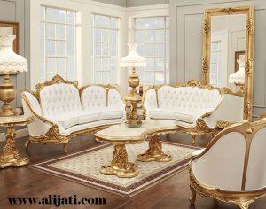 Sofa Tamu Victorian Mewah Cat Emas